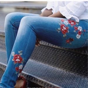 Express Women's Embroidered Flower Jeans.